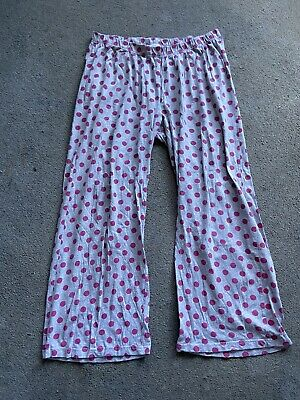 Ladies Grey And Pink Spots Lounge Pants Pyjama Bottoms Size 14-16