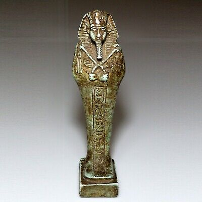 SCARCE-CIRCA 1000-500 BC ANCIENT EGYPTIAN GLAZED PHARAOH STATUE IDOL-200mm-349gr