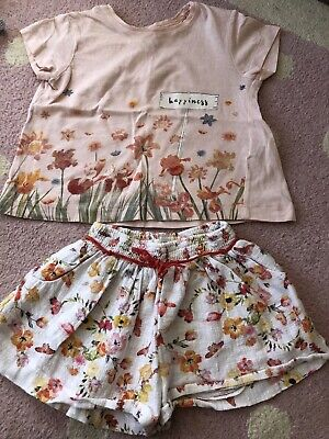 Zara Girls 2-3 Summer Outfit Shorts And T-shirt Top