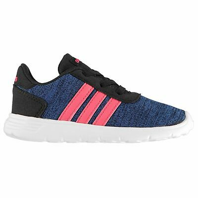 adidas Lite Racer Trainers Infant Girls Shoes Running Navy/Pink/White Footwear