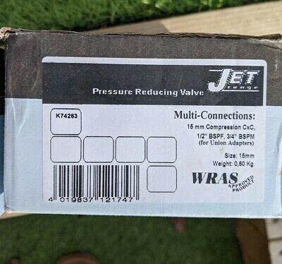2 X Jet K74263 pressure reducing valve 15mm adjustable prv
