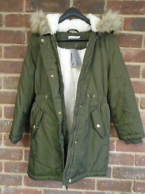 Blue Zoo Girl's Green Parka with Faux Fur Trim Hood Age 9-10 RRP £40 BNWT