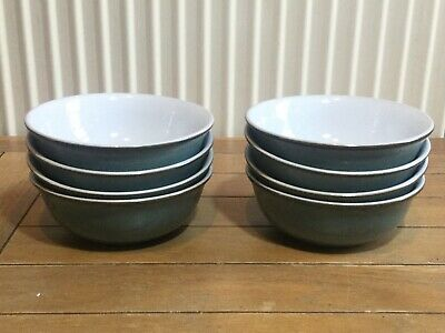 "Collection of eight Denby ""Regency Green"" cereal soup bowls, England"