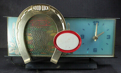 vintage OLYMPIA horse shoe working waterfall motion clock light