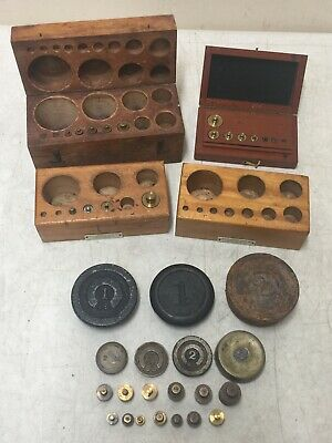 Antique Brass & Cast Iron Scale Weight Lot/ Incomplete Sets in Original Wood Box