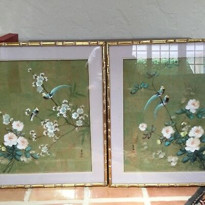 Antique pair Chinese paintings of birds flowers on linen signed sealed SUPERB