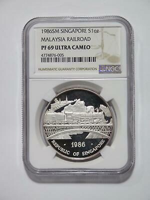 Singapore 1986 Ounce Malaysia Railroad Dragons Ngc Pf69Uc Silver World Coin ⭐🌈⭐