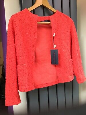 Harris Wharf London Designer Girl Uncollared Red Jacket Bouclé Italy Age 8 BNWT