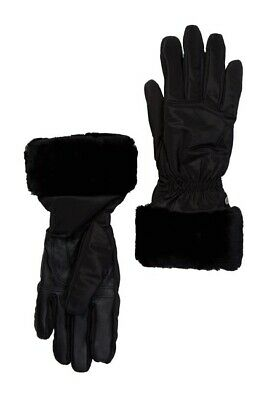 UGG Genuine Dyed Shearling Trim-Leather Palm-Tech Gloves-Black Size S/M
