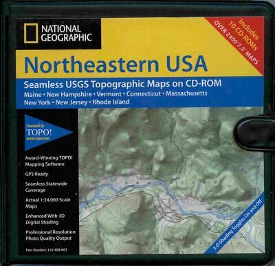 National Geographic, Northeastern Usa, 10 Cd-Rom Topographic Maps
