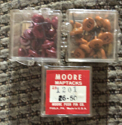 Lot Vintage Moore Co. Push Pin Map Tacks Multicolor Numbered