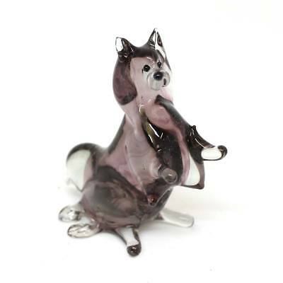 Middle blown Russian art glass figurine Dog - Spitz sitting  #160