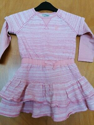 Next Girls Pink Fleece Lined Warm Dress 2-3 Years Frilly T-shirt Sleeves Embroid