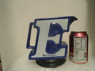 Awesome WORTHINGTON blue E shaped Beer/ale jug by WADE  Nice advertising piece