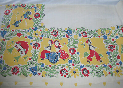Vintage Mid Century Tablecloth & Napkins Set Cute Boy & Girl Floral Print