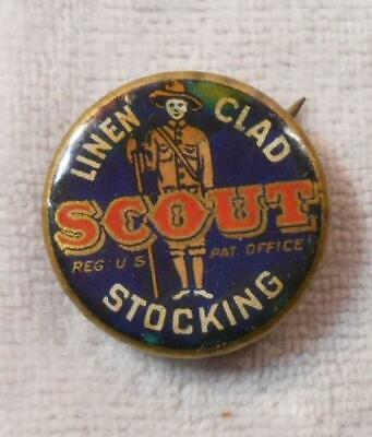 Vintage Celluloid Pinback Advertising Linen Clad Scout Socks Stocking