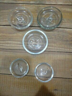 5 Vintage GLASS TOP Jar Lids Wire Top Clear Canning Jar Lids