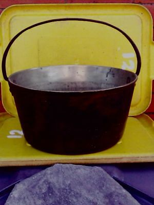 Antique/Vintage -JAM POT-BRASS with fixed cast iron handle-very large size-heavy