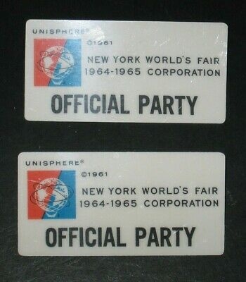 Lot of 2 OFFICIAL PARTY Badge - 1964 New York World's Fair