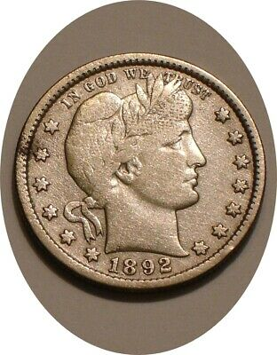 1892 S Barber Quarter full Detail with Full LIBERTY it appears cleaned