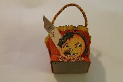 Vintage Halloween Nut Cup Crepe Decorated With Handle