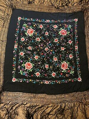Antique Embroidered Black Silk Piano Shawl Scarf Boho Hippie Wear