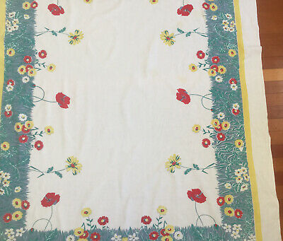Vintage Large Spring Flowers Tablecloth Daisies & Poppies