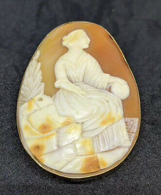 Antique Victorian Hand Carved Shell Cameo 9ct Gold Brooch Lady In  Garden