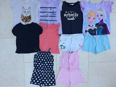M&S H&M GAP Girls Summer Bundle Clothing (x9 items: shorts, T-shirts, pyjamas)
