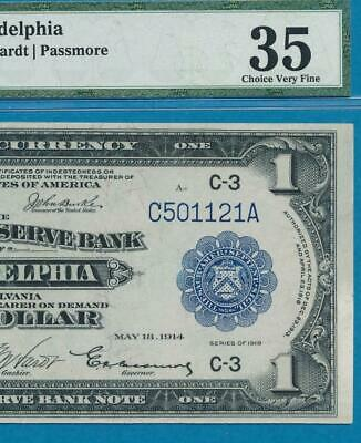 $1.00 1918 Fr. 714  Phila. Dist.certified  Pmg Vf35 Federal Reserve Bank Note