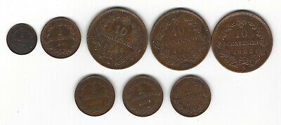 17. ITALY WORLD COINS: 8x 1, 2, 10 CENTISIMI 1866 h,m,n - 1961m 1 CT, 1903,4,5