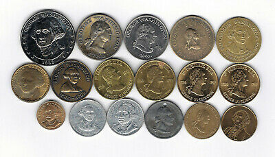 23. Lot Of 17 Diff Coins Tokens Featuring George Washington General -  President