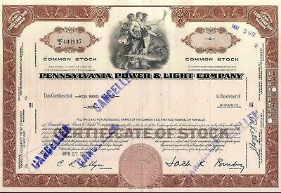 Stock certificate Pennsylvania Power & Light Company brown