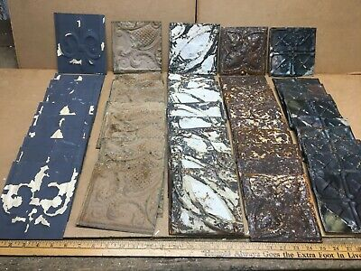 """50pc Craft Lot of 5"""" by 5"""" Antique Ceiling Tin Vintage Reclaimed Salvage Art"""