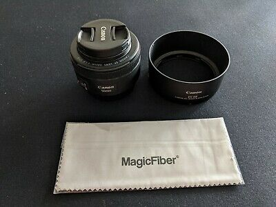 Canon EF 50mm f/1.8 AF Lens w/ES 68 Hood and Canon Protect Filter