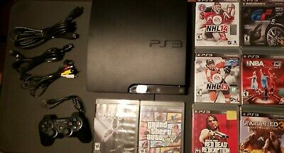 Sony PlayStation 3 Slim 160GB Charcoal Black Console (CECH-3001A) with Games