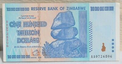 ZIMBABWE 100 Trillion Dollar 2008 AA SERIES BANKNOTE Uncirculated African Money