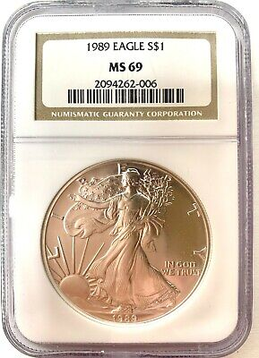 ***NGC MS69*** 1989 American SILVER Eagle ASE .999 1oz ***BROWN LABEL*** (10)