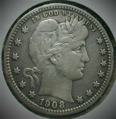 1908-S Better Date Barber Silver Quarter VF Condition  Lot #C467