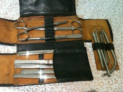 Vintage WWII Surgical Medical Field Instruments in Leather case pouch