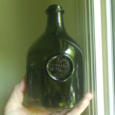 Olive Green Jno Greenhow Williamsburg 1770 Applied Seal Hand Blown Repro Bottle