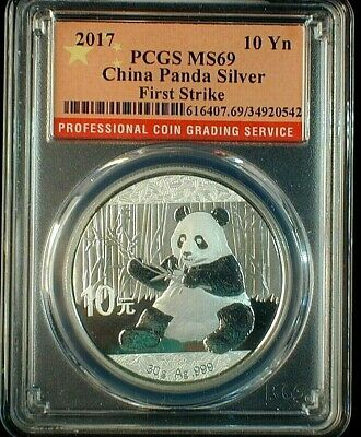 2017 China Panda 1 OZ Silver 10 Yuan Coin PCGS MS 69 First Strike  Lot #C471