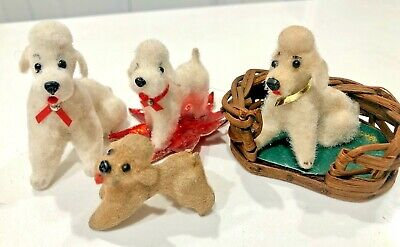 4 Kunstlerschutz Wagner poodles white cream flocked animals made in Germany vtg