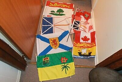 Five Maritime Canadian Small Flags, Newfoundland, Nova Scotia, Pei, New Bruswick