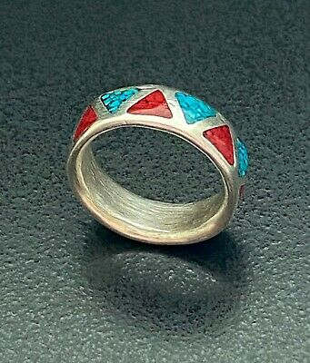 Vintage Sterling Silver NAVAJO Turquoise & Coral Inlay Band Ring Size 9, 7.2g