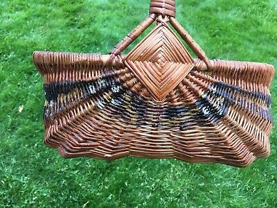 Antique-Vintage Woven Willow Wicker Market Collecting Basket - Painted Folk Art
