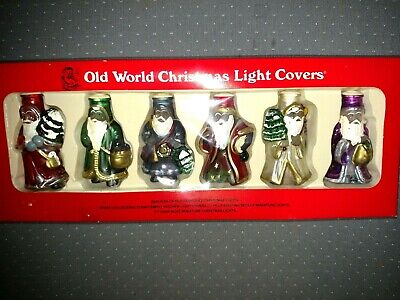 Vintage Glass Hand Painted Santa Old World Christmas Light Covers Lot of 6