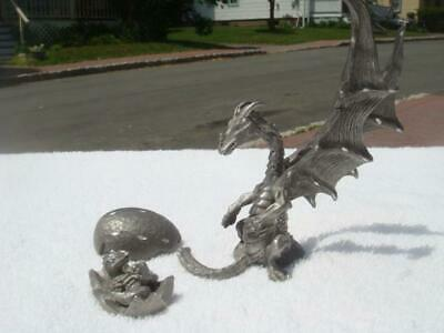 Vintage 1992 Radcliff Pewter Pieces -- Baby Dragon In Egg  -  &  -  Proud Parent