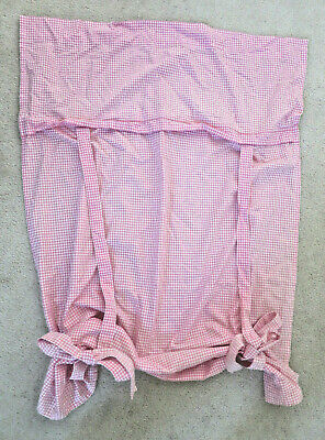 """POTTERY BARN KIDS Pink Gingham Tie-Up Valance Curtain 36"""" x 63"""""""