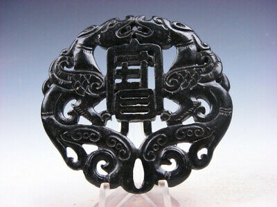 Old Nephrite Jade Stone 2 Sides LARGE Pendant 2 Dragons & Wealth #03222009